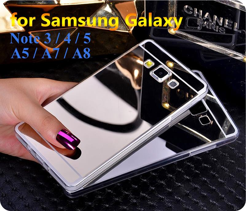 Phone Cases For Samsung Galaxy Note 5 4 3 / A8 A7 A5 Luxury Mirror Electroplating Soft Clear TPU Back Cover Bags Case(China (Mainland))