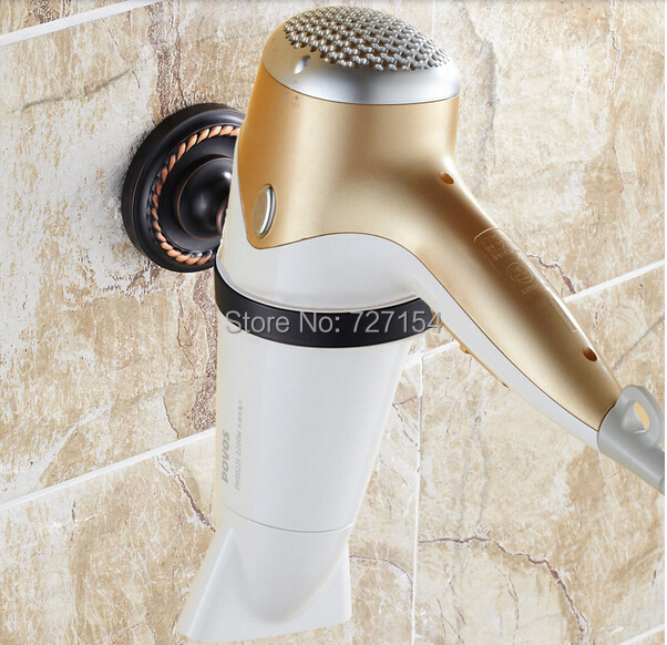 Free Shipping! New Wall Mounted Bathroom Hair Dryer Holder Oil Rubbed Bronze Round Ring Holder(China (Mainland))