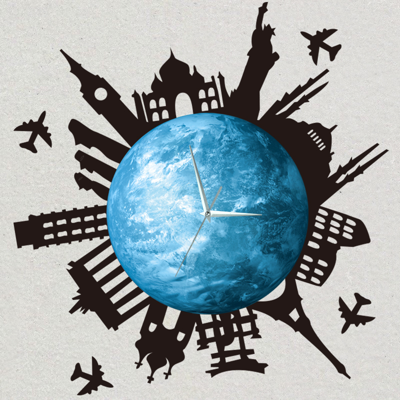 Funlife Glowing Earth Luminous Wall Clock with World Building Sticker Decal Clock On Wall for Home Decoration 30x30cm wcBD1407(China (Mainland))