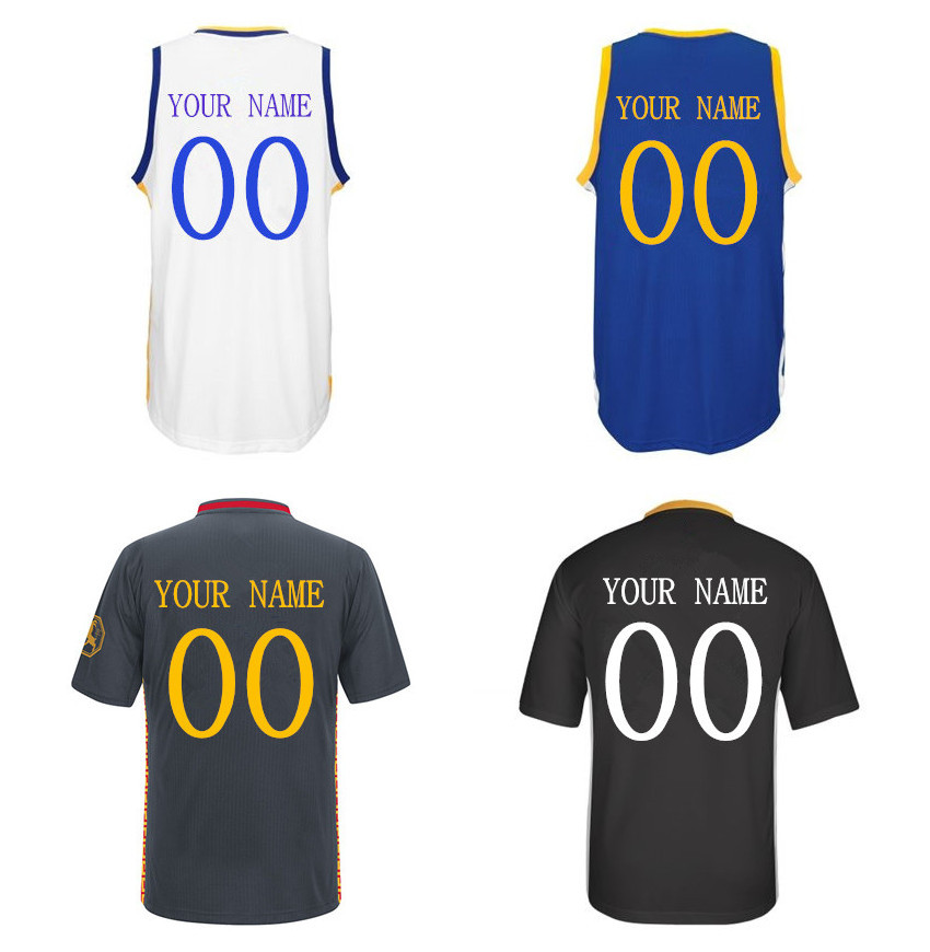 2015 Golden State Mens New Custom SW Home & Road & Alternate Basketball Jerseys,Can Put Any Name & Number,Size S-XXL(China (Mainland))