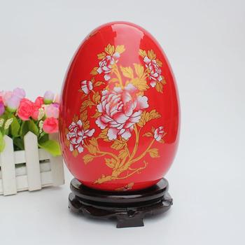 Modern home decoration red gold egg ceramic crafts desk furnishings wedding gift