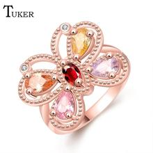Buy Fashion Multicolor Rings Women Popular beautiful selling butterfly Cubic Zirconia Rose Gold Color Wedding Finger Ring for $1.84 in AliExpress store