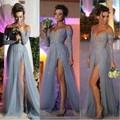 Luxury Long Prom Dress 2016 Grey Tulle Side Slit applique Sexy V neck Long Sleeve Plus
