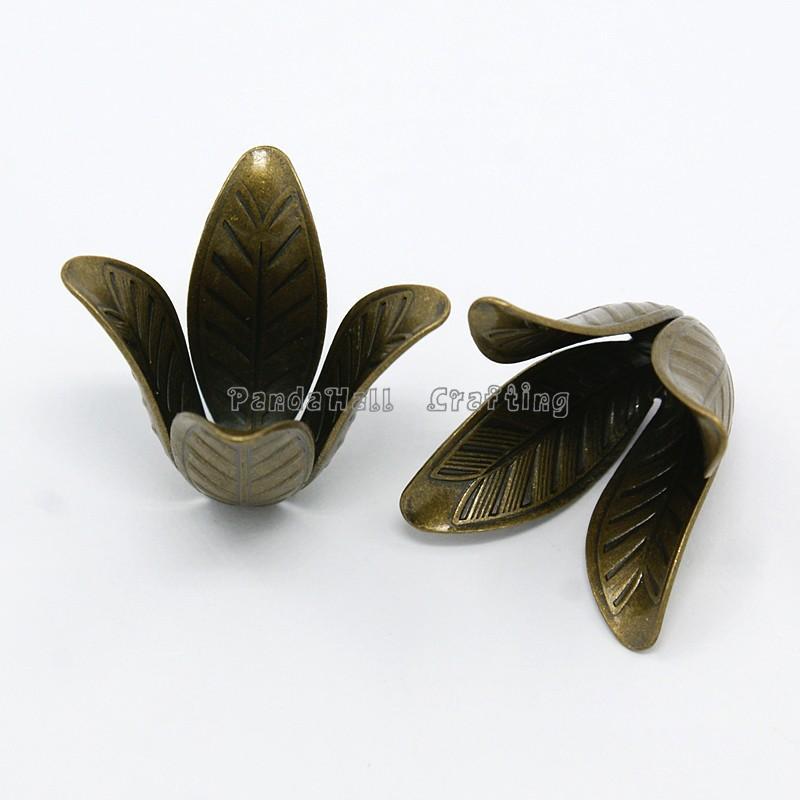 Antique Bronze 4-Petal Brass Flower Bead Caps, Cadmium Free & Nickel Free & Lead Free, 17x22mm, Hole: 2.5mm