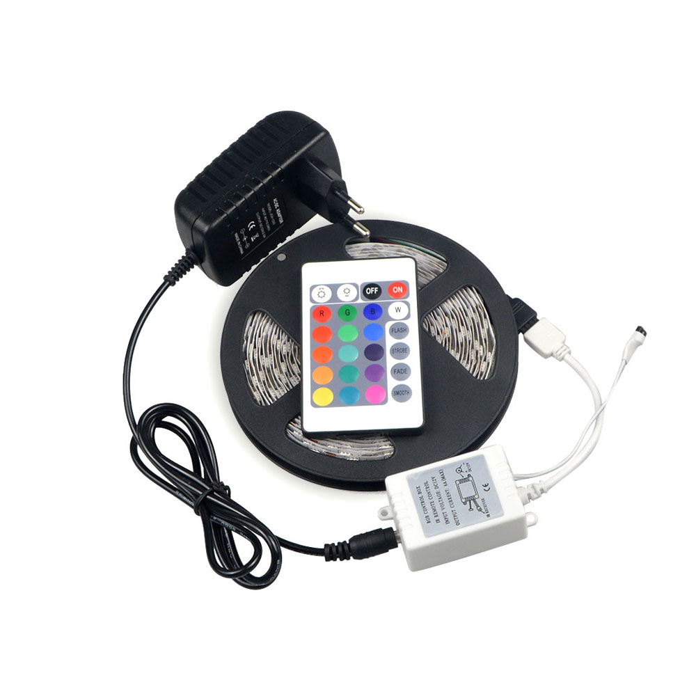 1X 5M / 300 LEDs String light RGB 5050 SMD LED Strip lamp Tape Ribbon+3A Power Adapter +24/44Keys Remote For Holiday Party Decor(China (Mainland))