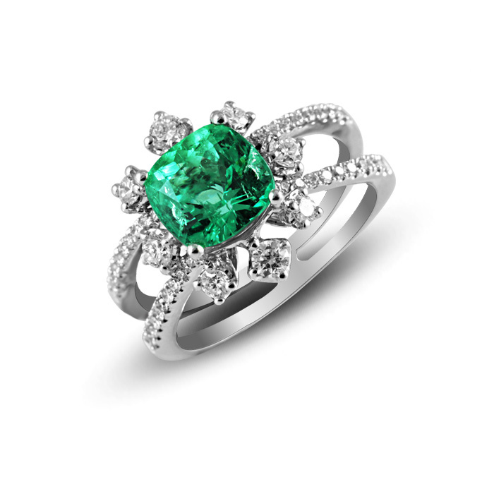 Qi Xuan_Fine Jewelry_Elegant Emerald Stones Flower Ring_S925 Sliver Plated 18KPG Gold Ring_Manufacturer Directly Sales(China (Mainland))