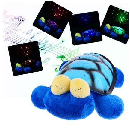 Cartoon Sparkling Musical Snail Projector Night Light Stars Lamp - Blue(China (Mainland))