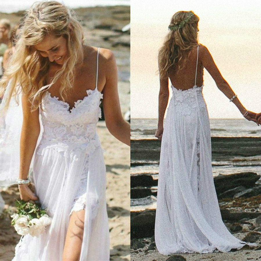 Sexy spaghetti straps lace beach wedding dresses 2015 for Backless beach wedding dresses
