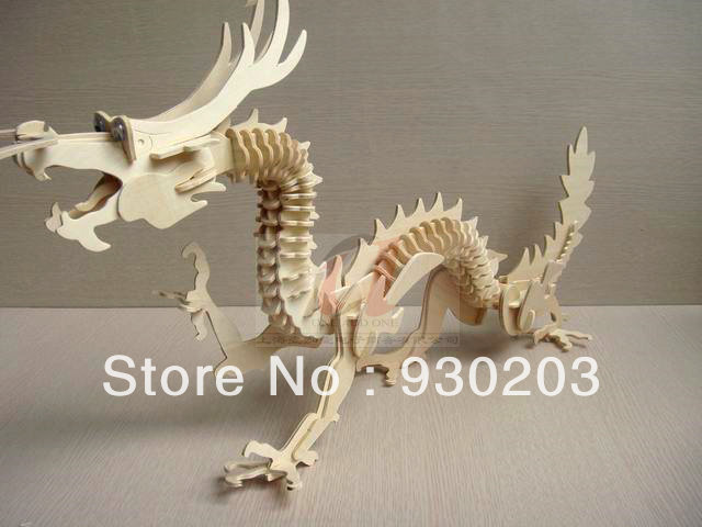 Creative DIY 3D Wooden Jigsaw Puzzle Model - Chinese Dragon()