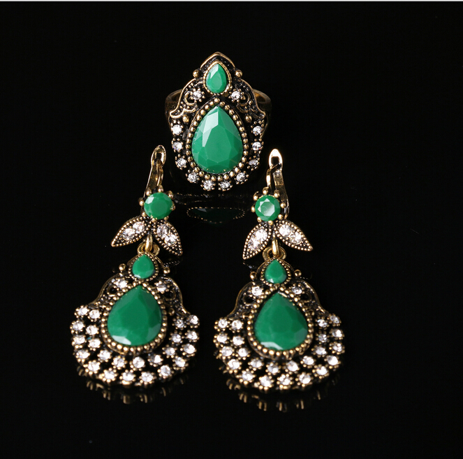 Vintage Retro Ethnic Rings Earrings Jewelry Sets Fashion White Gem Section Turquoise Wedding Jewelry Set For Women(China (Mainland))
