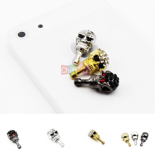 2Pcs Rhinestone Skull Head Earphone Plug Anti Dust Proof Cap Stopper for iPhone 5 5G 4 phone(China (Mainland))