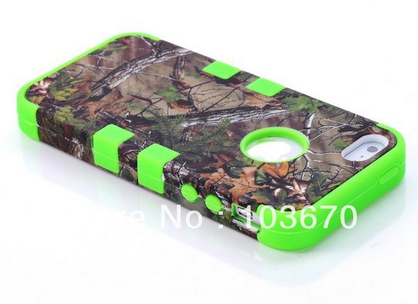 2013 New Deep Forest Tree Hybrid Heavy Duty Impact Rugged Hard Rubber Combo Case Cover for iPhone 5 5G Free Shipping 10pcs/lot(China (Mainland))
