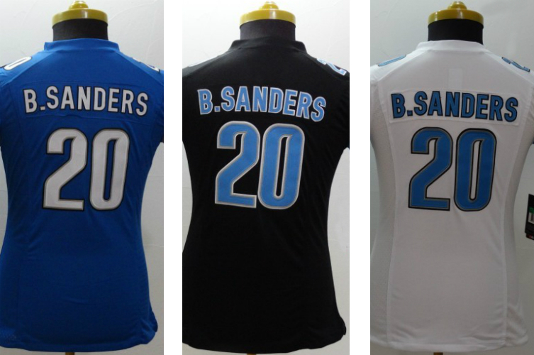 Hot Sales Amrican Football Jerseys Women's #20 Barry Sanders Light Blue/Black/White Game Jersey,Embroidery & Sewing Technology(China (Mainland))