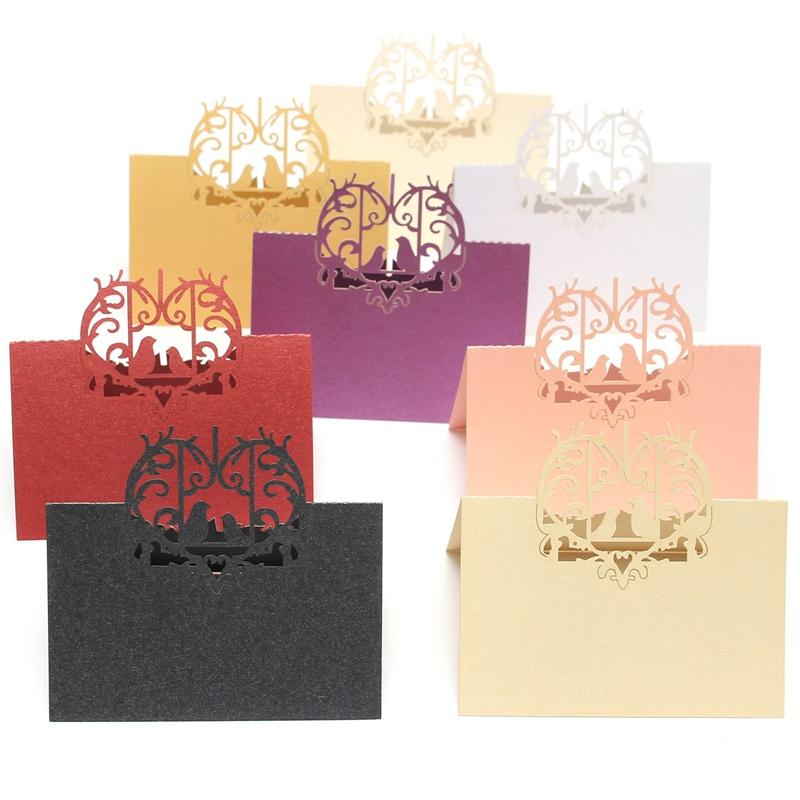 Hot Sale 10pcs Loving Birds Laser Cut Romantic Wedding Party Table Name Place Cards Invitation Card Favor Decor(China (Mainland))