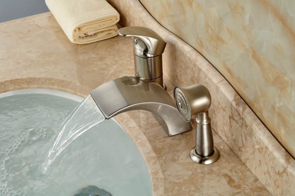 Brushed Nickel Roman Waterfall Spout Tub Faucet Bathroom Sink Mixer Tap W Ha