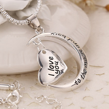 2015 Fashion I Love You To The Moon and Back Silver Heart Personalized Pendant Necklace Jewelry Wholesale Best Friend Gifts(China (Mainland))