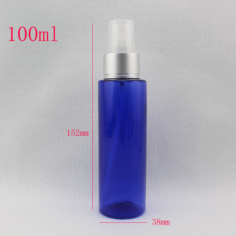 100ml blue refillable empty plastic spray pump bottles,100cc botellas de maquillaje,perfumes and fragrances makeup setting spray(China (Mainland))