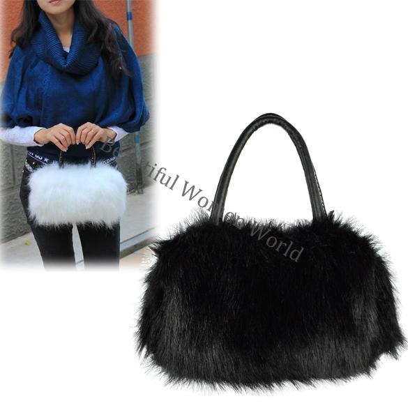 2015 Spring New Arrival Women Tote Bag Mini Lovely Fur Leather Handbag black white clutch bag i8155(China (Mainland))
