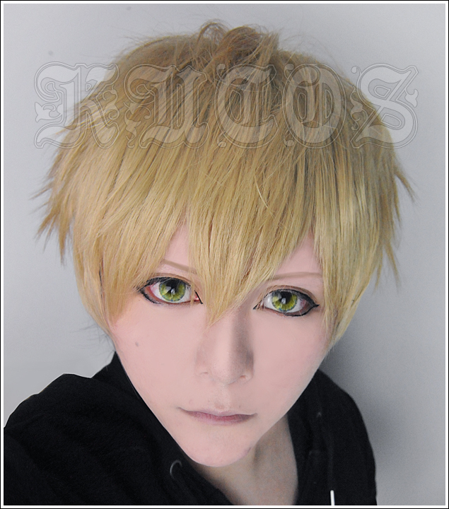 FREE SHIPPING Anime One Punch Man Genos Short Flaxen Full Lace Cosplay Wig Costume Heat Resistant + CAP(China (Mainland))