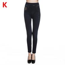 Weljuber Women Leggings Autumn Jeans Leggings Slim Mock Pocket Woman Print Jeggings Ladies Denim Skinny Trousers(China (Mainland))