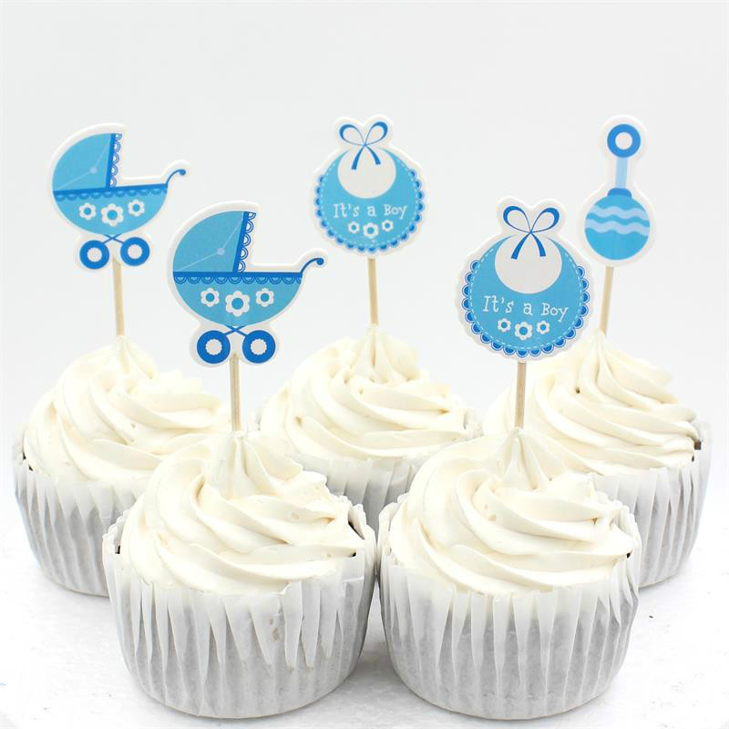 Baby wagon party cupcake toppers picks decoration for kids for Baby shower cupcake picks decoration
