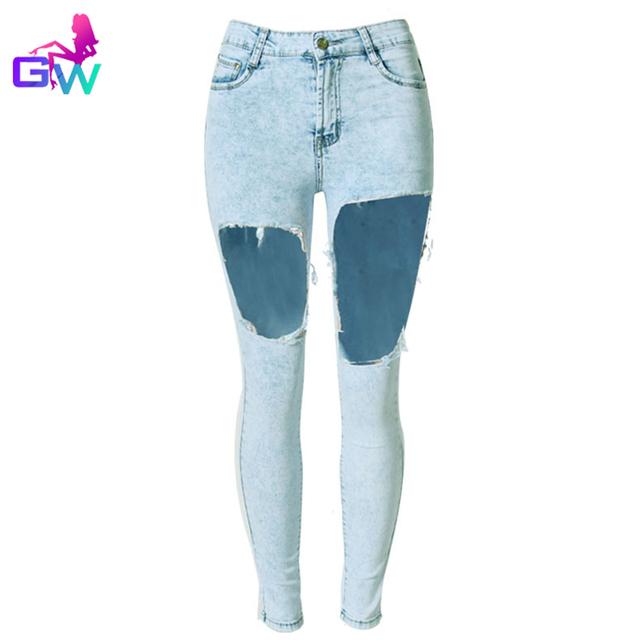 Женщины рваные джинсы 2015 лучших мода разорвал отверстия снежинка синий карандаш ...