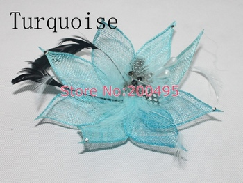 """7""""(18cm) Sinamay Feather Fascinator Hat Feather Brooch 10pcs/lot  Free Shipping"""