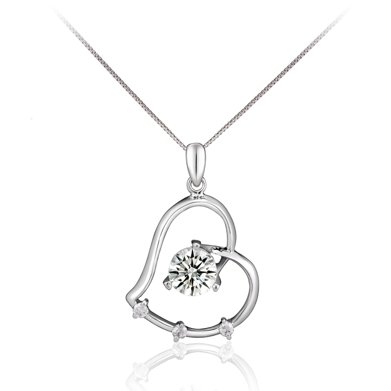wholesale 10pcs GAYEST White&Purple Crystal Zircon 925 Sterling Silver Heart Necklace Pendant SD129, Hot!(China (Mainland))