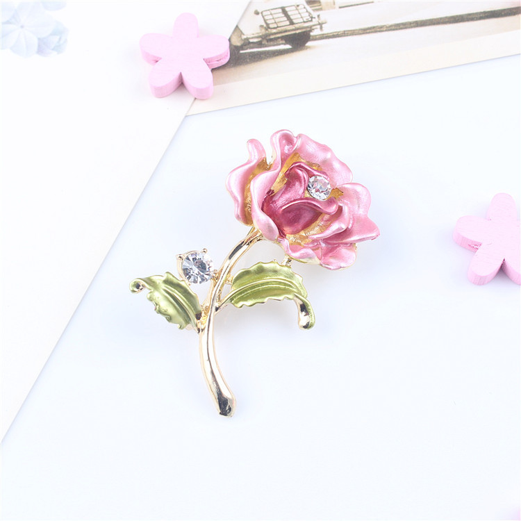 South Korean high-grade painting paint brooch brooch bouquet of flowers painted drip alloy rhinestone clover brooch clothing(China (Mainland))