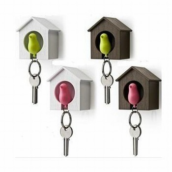 Sparrow Key Ring With Whistle And Bird's Nest Hang On The Wall / Keychain