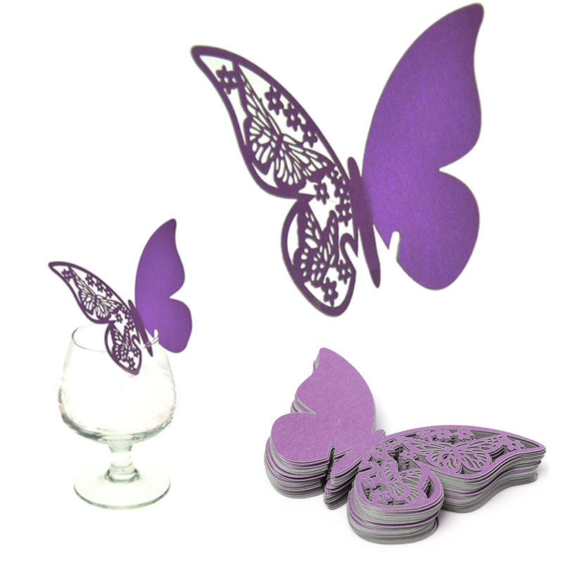 Hot 50Pcs Butterfly Cut-out Place Escort Wedding Engagement Party Decor Paper Wine Glass Cup Cards Escort Name Card(China (Mainland))