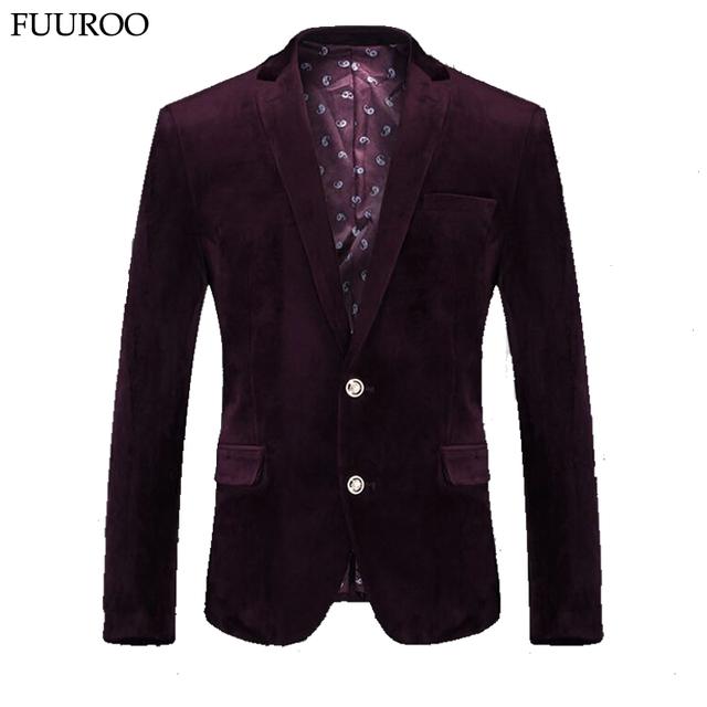 Осень мужчины бархат пиджак мода одной кнопки костюм пиджак чистый цвет свободного ...