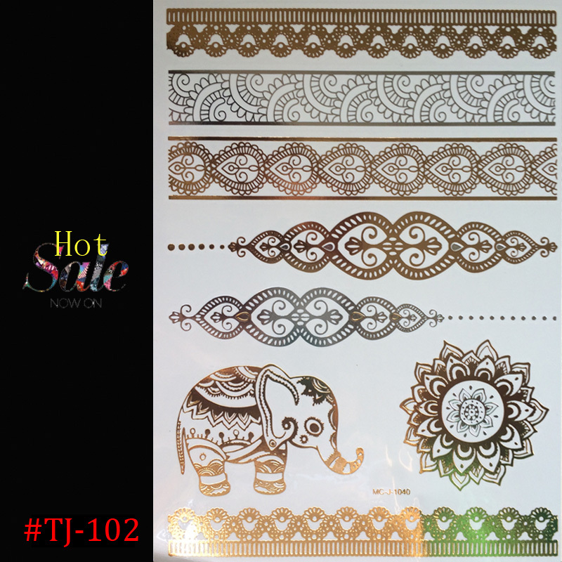 1PCS Hot tattoo New Fashion Metalic Gold Tatoo Temporary Flash Tattoos Sex Products Henna Metal Bling