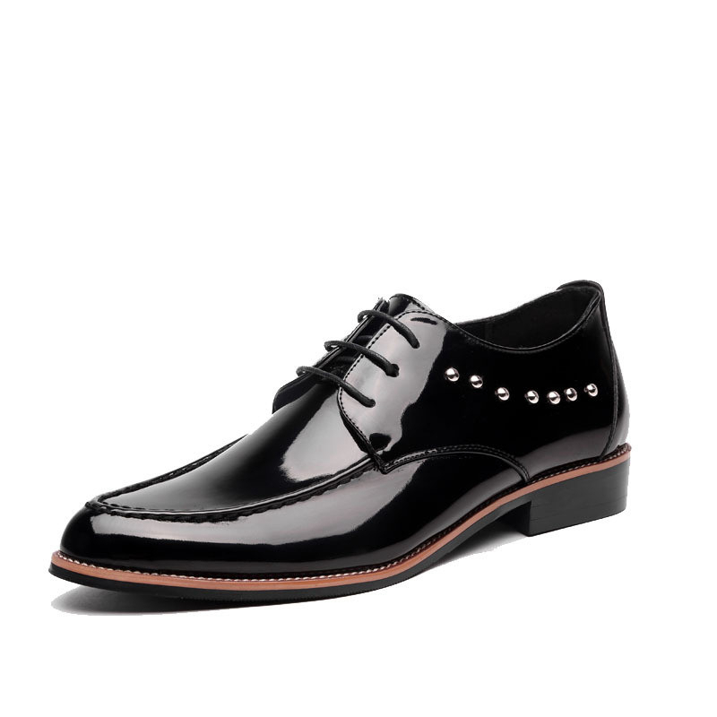 Men Patent Leather Oxford Shoes New Fashion Lace Up With Rivet Men Dress Shoes Plus Size Black Yellow Brown zapatos hombre(China (Mainland))