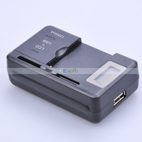 100pcs/Lot LCD Display Universal USB Battery Wall Travel Charger with Offical EU/UK/AU Plug for Mobile Phone by DHL