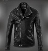 Free shipping ! Black stand collar mens leather jackets and coats spring leather jacket for men slim fashion motorcycle clothes(China (Mainland))