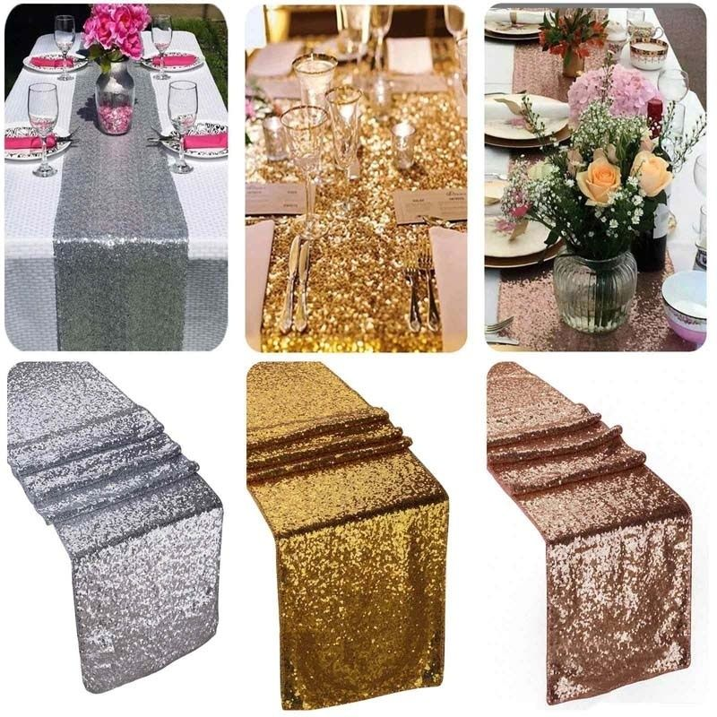 Gold sequin table runner wedding party decorations table for Decoration rose gold