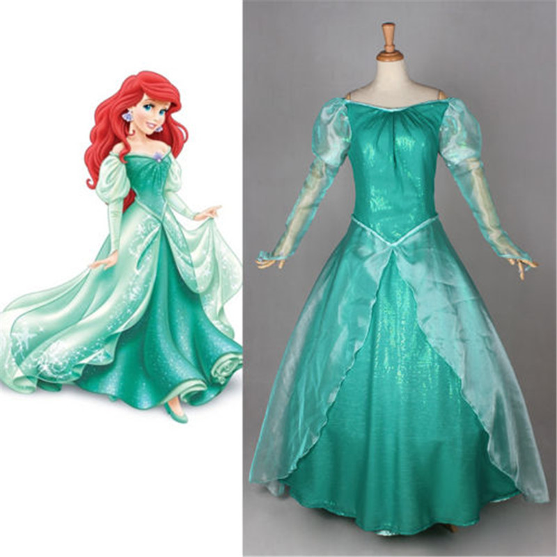 The Little Mermaid Princess Ariel Cosplay Fancy Dress Girls Princess Dresses Halloween Costumes for Women Adult Costumes Custom(China (Mainland))