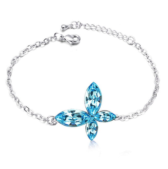Evil eye butterfly bracelet queen design 18K white Gold Plated Austrian Crystal link Charm Bangle fashion anklet jewelry 70015(China (Mainland))