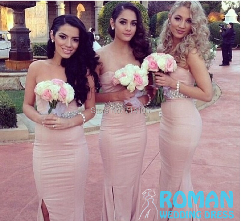 Customize Sheath Satin Nude Pink Sides Slit Sweetheart Empire Pleat Waist Sash Wide Bridal Team Bridesmaid Dresses - Sheepherder Store store