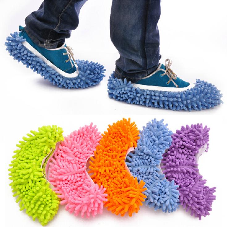 1pc Dust Mop Slipper House Cleaner Lazy Floor Dusting Cleaning Foot Shoe Cover 7 Colors Drop Shipping HG-0953\br(China (Mainland))