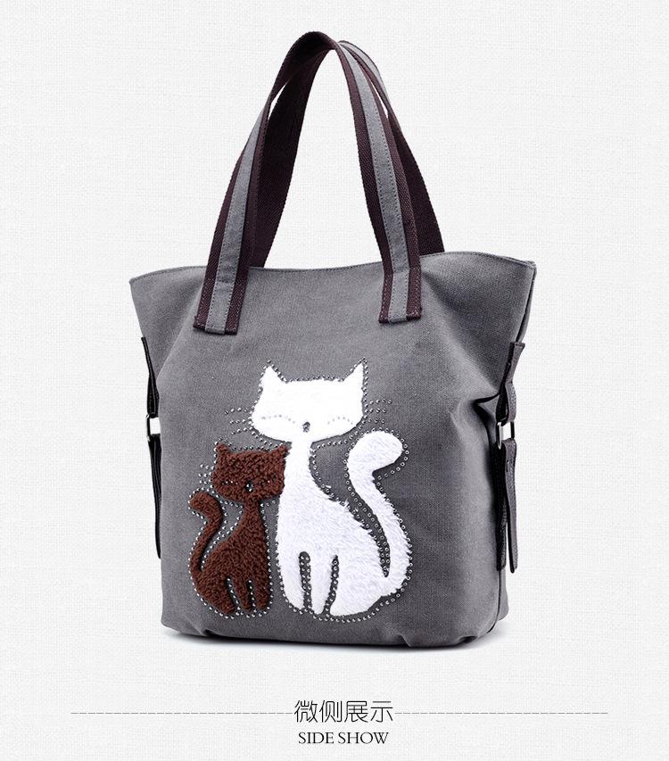 1266 Wholesale Simple Cute Cat fashion Leisure all-match Laptop Bag Single Shoulder Bags Ladies Handbag