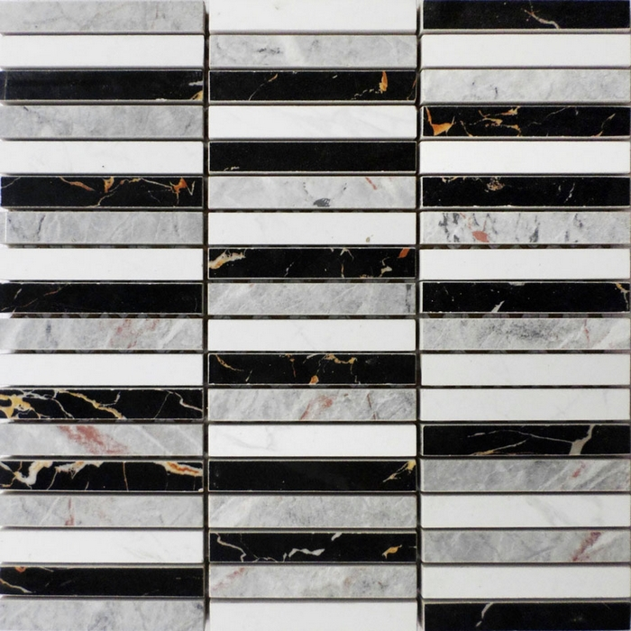 Imitation stone mesh backing black gray mixed white color - Tipos de azulejos para cocina ...