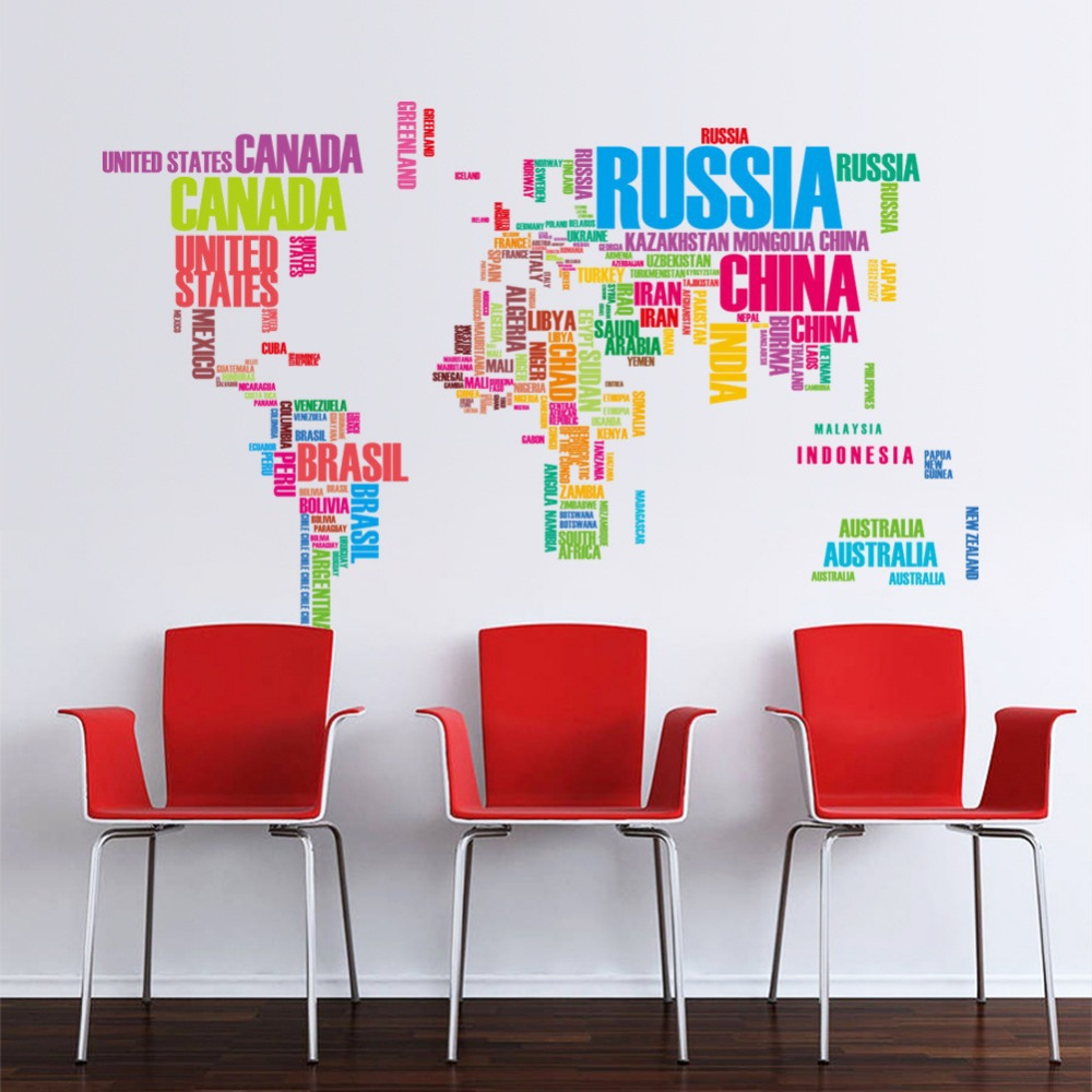Large colorful letters world map wall sticker mural for Removing vinyl wallpaper