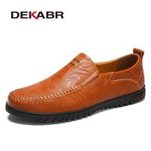 DEKABR Degli Uomini Scarpe di cuoio Genuino Confortevole Uomini Casual Scarpe Calzature Scarpe Degli Appartamenti Degli Uomini Slip On Pigri Scarpe Zapatos Hombre(China)