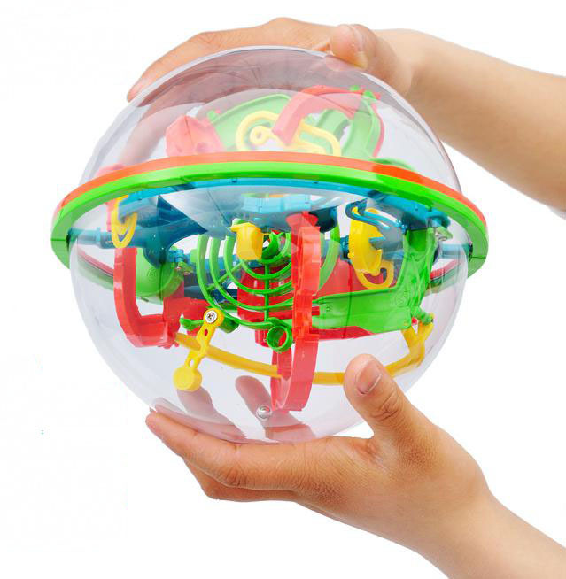 100 Steps 929A Ball Small & Big Size Educational Magic Intellect Ball Cubes Marble Puzzle Brain Teaser Game Perplexus(China (Mainland))