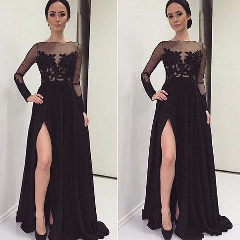 Gorgeous Slit High Long Evening Dresses Black Chiffon Full