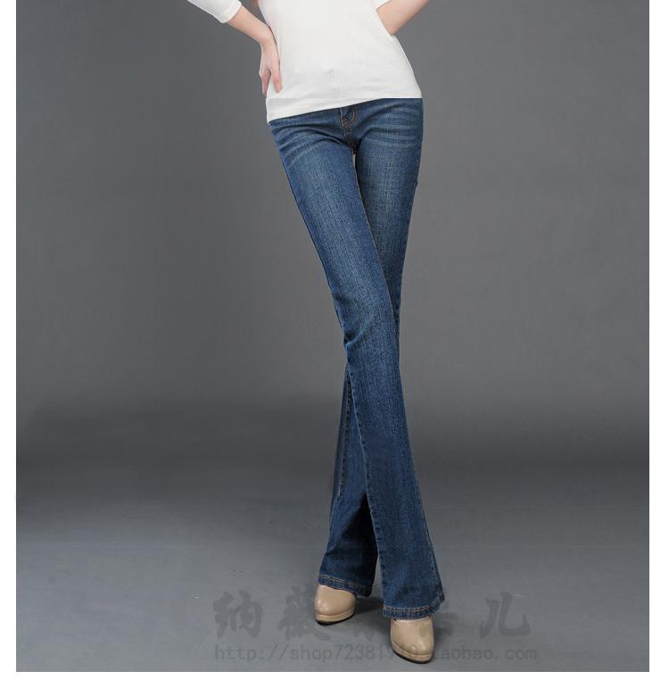 Скидки на 2016 весной упругие женские джинсы загрузки cut Большой размер женские брюки тонкие брюки
