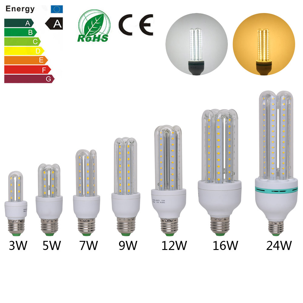 10pcs 3W 5W 7W 9W 12W 16W 24W LED Lamps AC85~265V SMD3528 E27 LED Light Corn Led Bulb Chandelier Candle Lighting Home Decoration(China (Mainland))