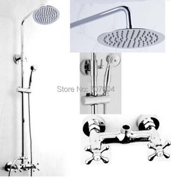 Polished Chrome Rainfall Shower Set Faucet Double Handles Shower Mixer Taps With Hand Shower Tap